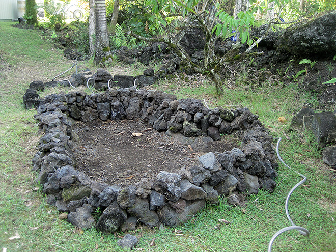 Bed made of lava rocks