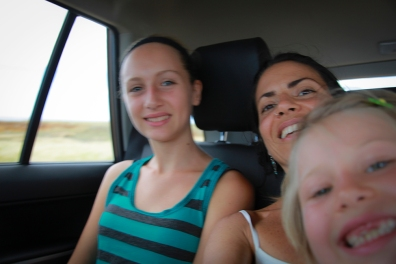 Riding in the back with girls for Sophi's comfort :)