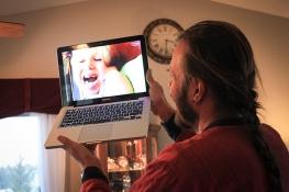 Dan talking to the kids on Skype