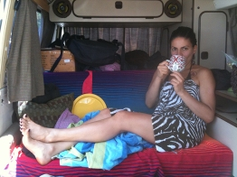 In the van enjoying some tea